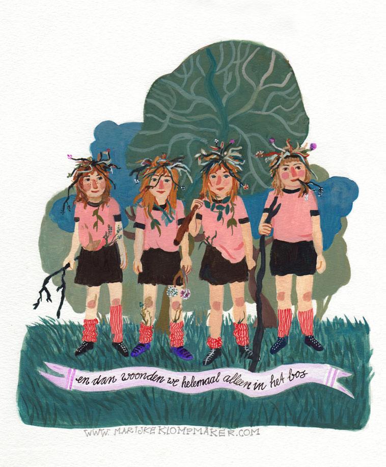 4 bosmeisjes