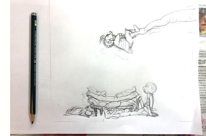 overdrijven in de tekening