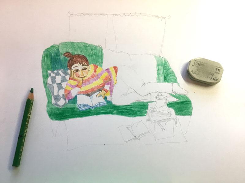 illustratie met kleurpotlood