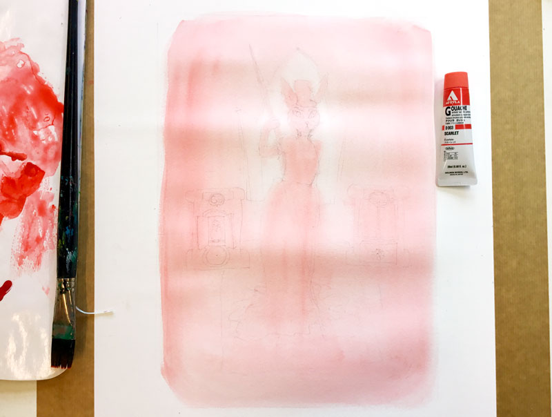 schilderij in rood